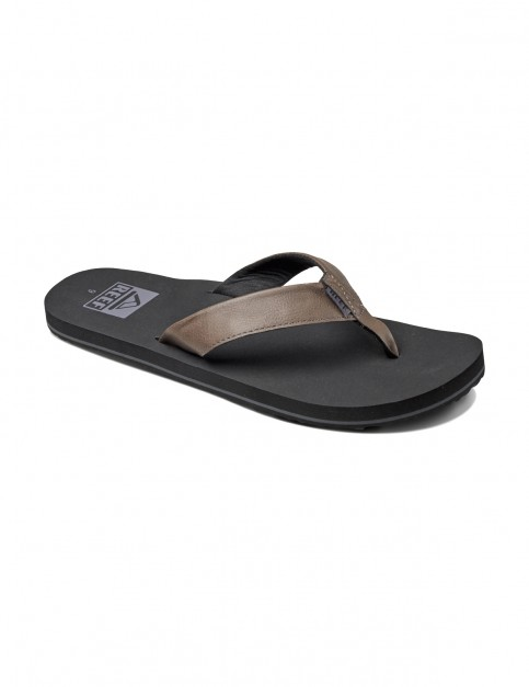 Reef Twinpin Leather Sandals in Grey