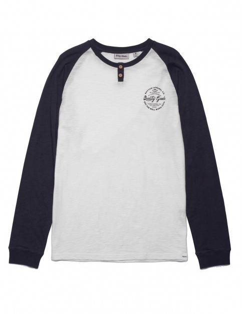 Rhythm Contrast Henley Long Sleeve T-Shirt in White