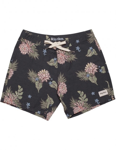 Rhythm Retro Bloom Trunks Mid Length Boardshorts in Vintage Black