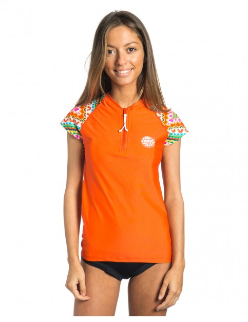 Rip Curl Allover Cap Sleeve Short Sleeve Rash Vest in Mandarin Red