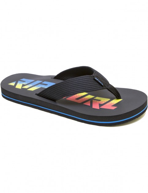 Rip Curl Bob Cush Flip Flops in Black Yellow Blue