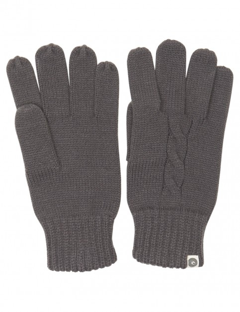 Charcoal Grey Rip Curl Cable Knitted Gloves