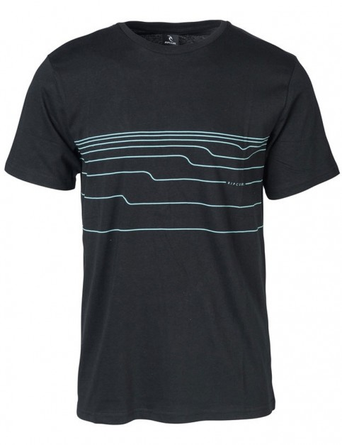 Rip Curl Distort Lines Short Sleeve T-Shirt in Black