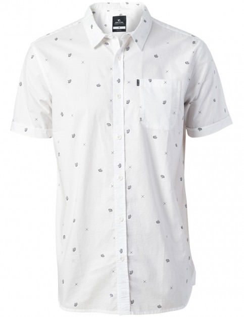 Rip Curl Disturb Short Sleeve Shirt in Optical White