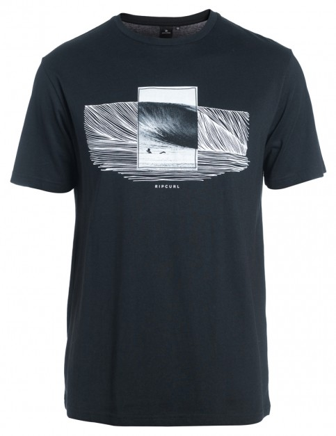 Black Rip Curl Double Frame Short Sleeve T-Shirt