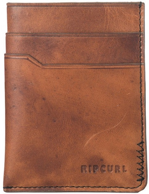 Rip Curl Handcrafted Slim Card Leather Wallet in Brown