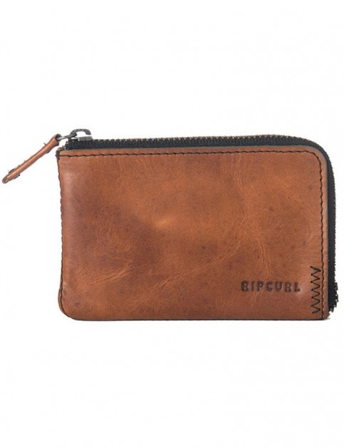 Rip Curl Handcrafted Zip Coin Slim Leather Wallet in Brown