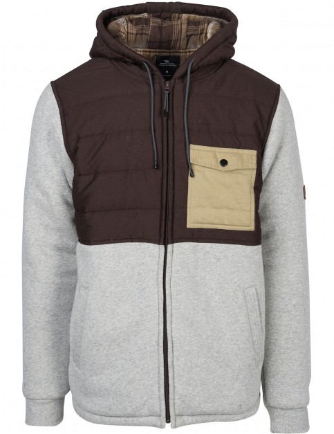 Rip Curl Inspired Full Zip Fleece in Cement Marle