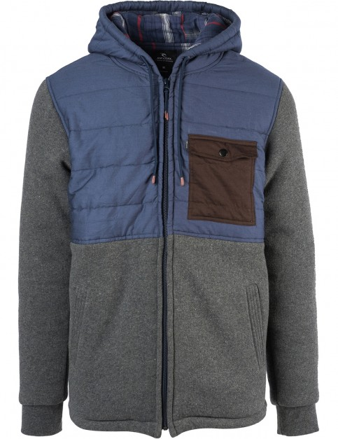 Rip Curl Inspired Full Zip Fleece in Charcoal Marle