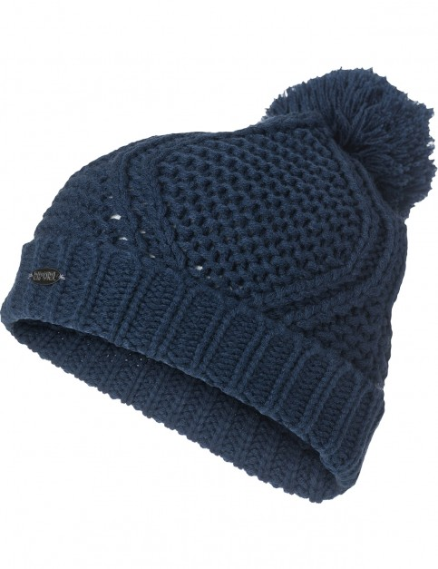 Rip Curl Raya Beanie Bobble Hat in Blue Indigo
