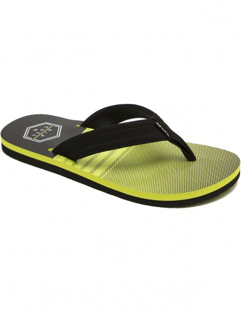 Rip Curl Ripper Flip Flops in Black On Lime