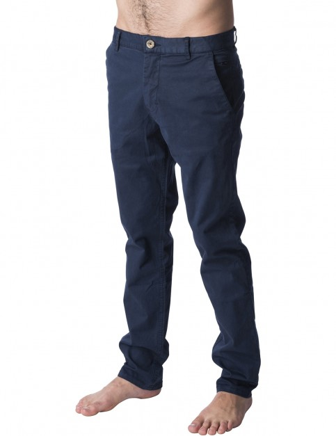 Rip Curl Savage Straight Chino Trousers in Navy