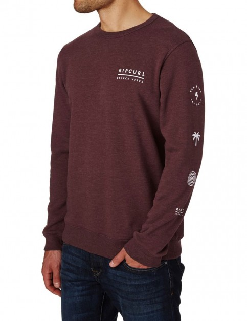Rip Curl Stacked Vibes Crew Sweatshirt in Tawny Port Marl