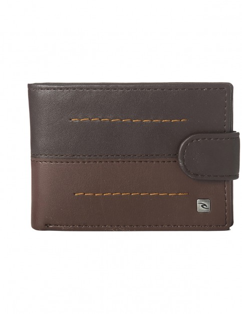 Rip Curl Stitch Clip PU Slim Faux Leather Wallet in Brown