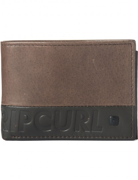 Rip Curl Undertow RFID Slim Leather Wallet in Brown