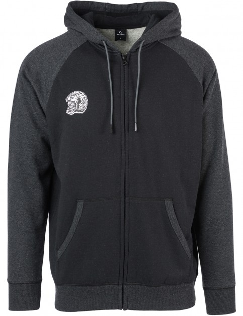 Rip Curl Wild Beast Zipped Hoody in Black Marled