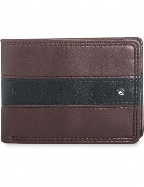 Rip Curl Word Boss PU Slim Faux Leather Wallet in Brown