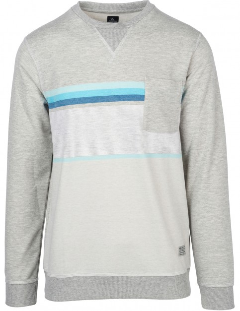 Rip Curl Yarn Dyed Stripe Crew Sweatshirt in Cement Marle