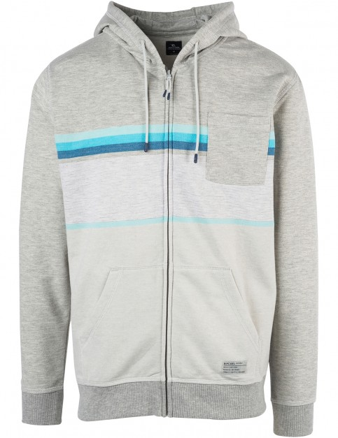 Rip Curl Yarn Dyed Stripe Zipped Hoody in Cement Marle