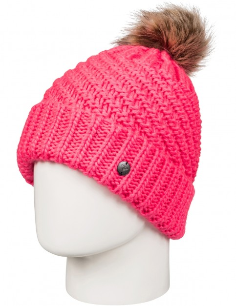 Roxy Blizzard Bobble Hat in Neon Grapefruit