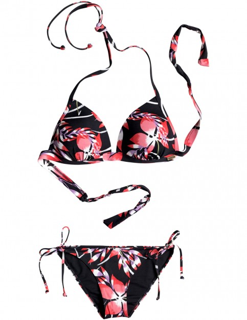 Roxy Blowing Mind Tri Tie Scooter Bikini in Anthracite Mystery Floral