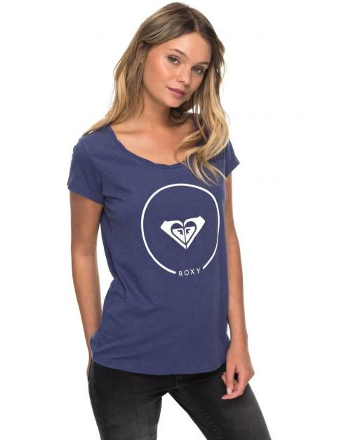 Roxy Bobby Twist Ess J Tees Bre0 Short Sleeve T-Shirt in Deep Cobalt
