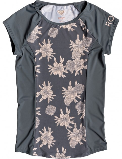 Roxy Cap Sleeve Short Sleeve Rash Vest in Turbulence Rose and Pearls