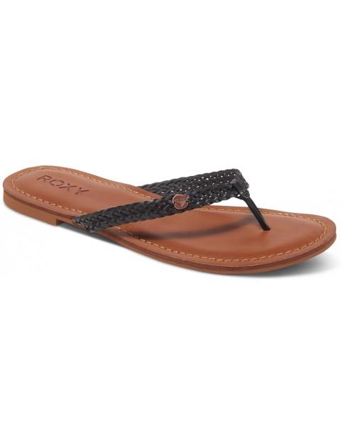 Black Roxy Carmen Faux Leather Sandals