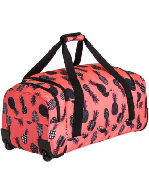 Roxy Distance Across Wheeled Luggage in Ax Neon Grapefruit Pineapple Dots