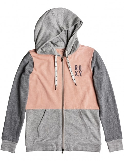 Roxy Dress Like You Colourblock Zipped Hoody in Coral Cloud