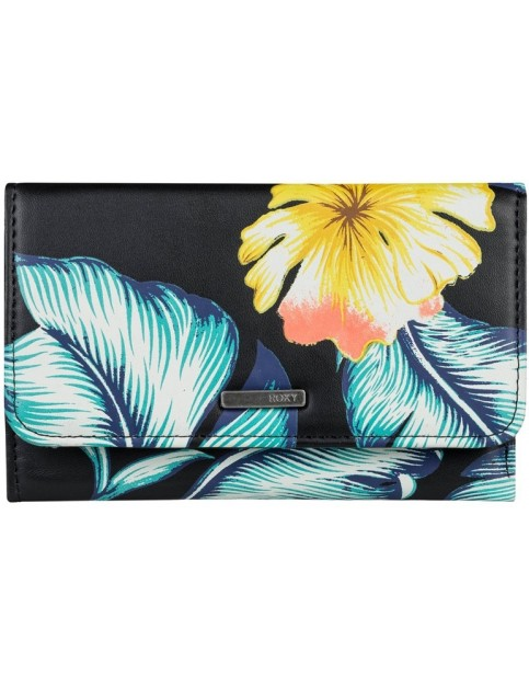 Roxy Juno Printed Faux Leather Wallet in Anthracite Tropical Love