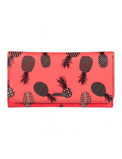 Roxy My Long Eyes Faux Leather Wallet in Ax Neon Grapefruit Pineapple Dots