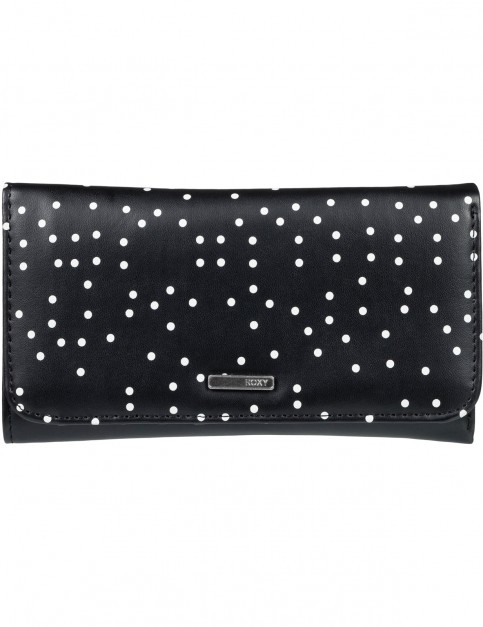 Roxy My Long Eyes Faux Leather Wallet in True Black Dots For Days