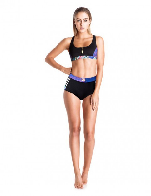 Roxy Polynesia Zipped Bikini in Black