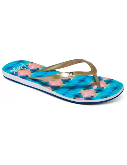 Roxy Portofino Flip Flops in Blue/White Print