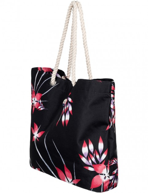 Roxy Printed Tropical Vibe Beach Bag in Anthracite Mystery Floral