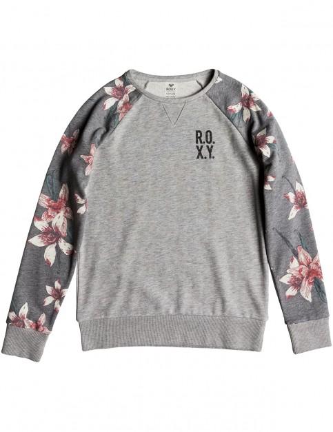 Roxy Sunrise Delicacy Colourblock Sweatshirt in Charcoal Heather Flower Field