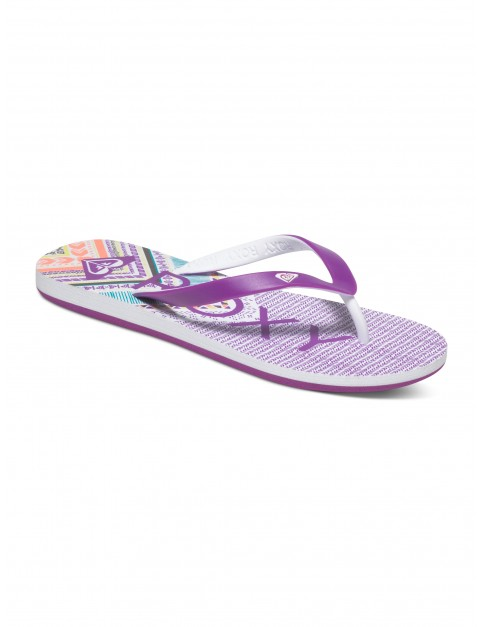 White Purple Roxy Tahiti V Flip Flops
