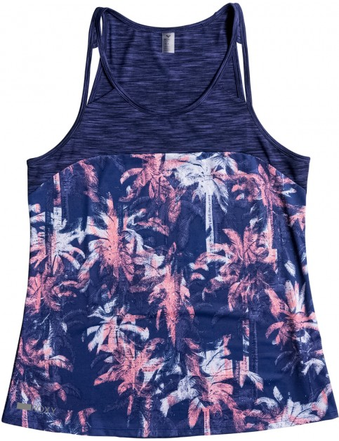 Roxy Thana Tank Sleeveless Top in Blue Depths Washed Palm