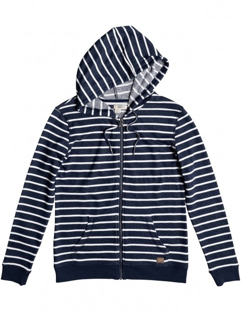 Roxy Trippin Stripe Zipped Hoody in Dress Blues
