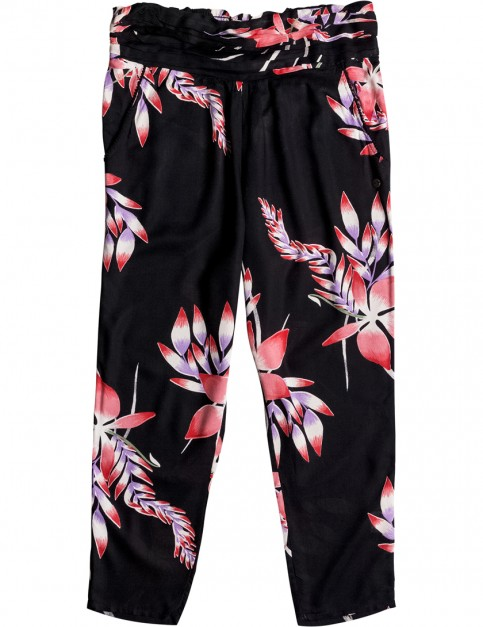 Roxy Ultra Violet Printed Linen Trousers in Anthracite Mystery Floral