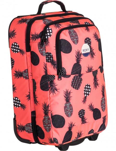 Ax Neon Grapefruit Pineapple Dots Roxy Wheelie Wheeled Luggage