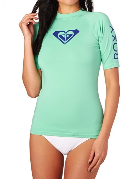 Roxy Whole Hearted Short Sleeve Rash Vest in Pool Blue