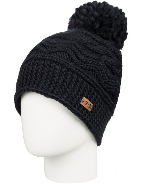 Roxy Winter Bobble Hat in True Black