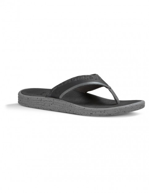 Sanuk Party Wave Compass Flip Flops in Charcoal Grey