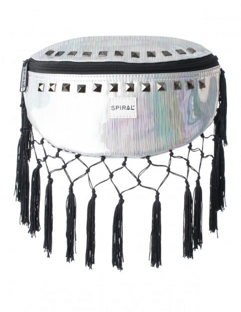 Spiral Bijoux Rave Tassels Bum Bag in Silver