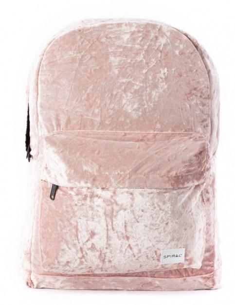 Spiral Crushed Velvet Blush Backpack in Pink