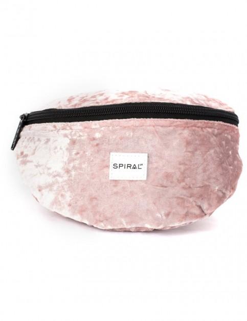 Spiral Crushed Velvet Blush Bum Bag in Pink