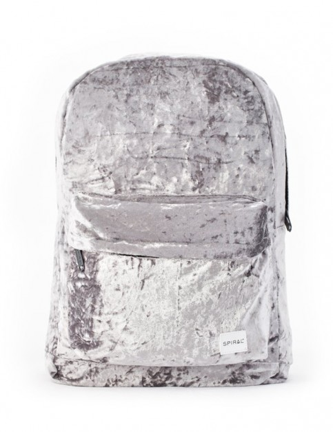Spiral Crushed Velvet Mist Backpack in Grey