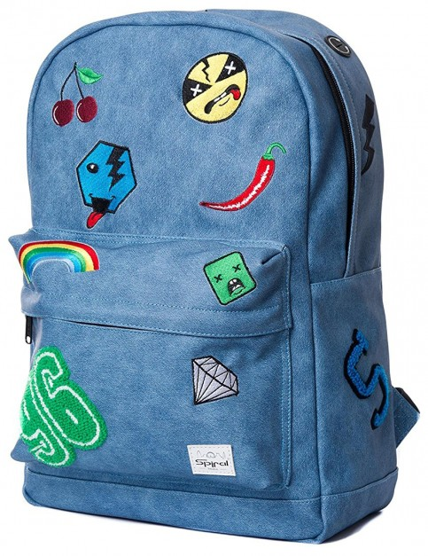Spiral Faux Denim Patch Backpack in Blue